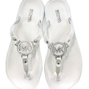 MICHAEL Michael Kors Shoes - MICHAEL MICHAEL KORS SILVER FLAT SANDALS SIZE 7